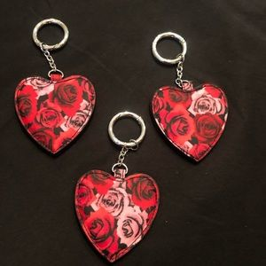 Vera Bradley Key Rings Heart Shaped Roses set 3